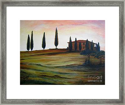 House In Tuscany Framed Print by Christine Huwer