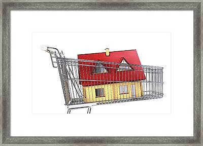 House Inside A Shopping Trolley Framed Print by Leonello Calvetti