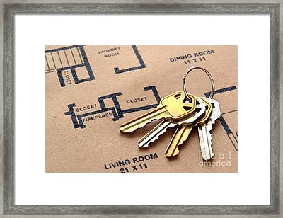 House Keys On Real Estate Housing Floor Plans Framed Print