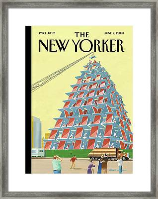 House Of Cards Framed Print by Bruce McCall