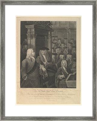 House Of Commons - Sir Robert Walpoles Framed Print by After William Hogarth