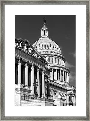 House Of Representatives And The Capitol Black And White Framed Print by Jerry Fornarotto
