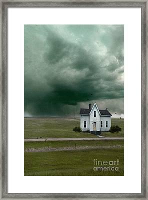 House On A Dirt Road In Storm Framed Print by Jill Battaglia