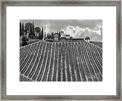 House On A Hill-tuscany-bw Framed Print