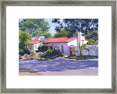 House On Crest Del Mar Framed Print by Mary Helmreich