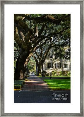 House On Pulaski Square Savannah Framed Print by Henry Kowalski