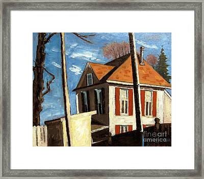 House On The Hill On Spring Street Framed Print by Charlie Spear