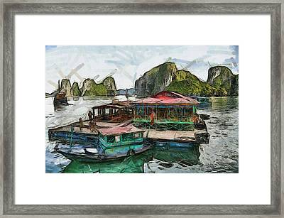 House On The Sea Framed Print by Teara Na