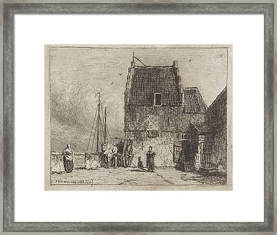 House On The Waterfront In Nijmegen, The Netherlands Framed Print by Jan Weissenbruch