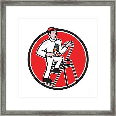 House Painter Paintbrush On Ladder Cartoon Framed Print by Aloysius Patrimonio