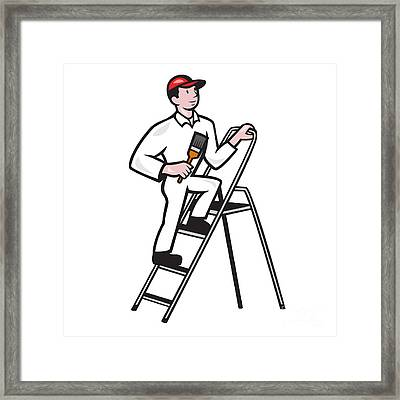 House Painter Standing On Ladder Cartoon Framed Print by Aloysius Patrimonio