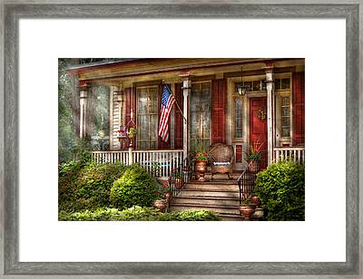 House - Porch - Belvidere Nj - A Classic American Home  Framed Print by Mike Savad