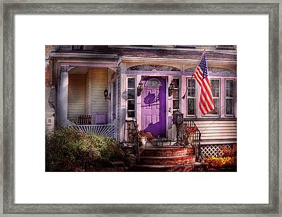 House - Porch - Cranford Nj - Lovely In Lavender  Framed Print by Mike Savad