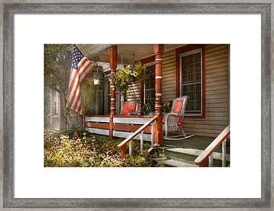 House - Porch - Traditional American Framed Print by Mike Savad