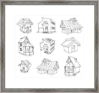 House Sketch Set Framed Print by Ioan Panaite