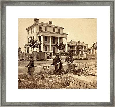House Where The Union Officers Were Confined Under Fire Framed Print
