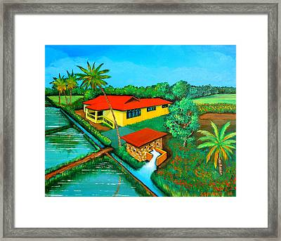 House With A Water Pump Framed Print