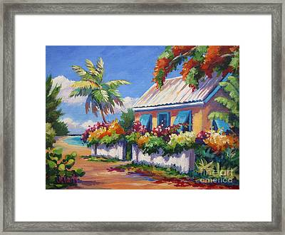House With Blue Shutters Framed Print by John Clark