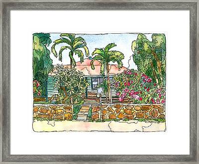 House With Lava Rock Wall Framed Print
