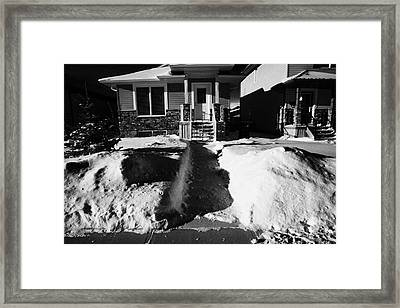 house with path cleared of snow leading to front porch Saskatoon Saskatchewan Canada Framed Print