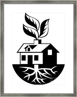 House With Roots And Leaves Sprout  Framed Print