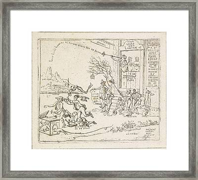House With Signboard Dutch School, Hermanus Fock Framed Print by Hermanus Fock
