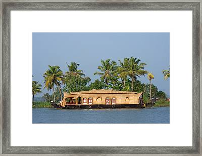 Houseboat On The Backwaters Of Kerala Framed Print