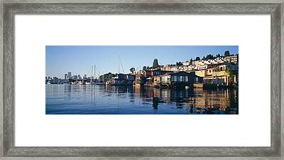 Houseboats In A Lake, Lake Union Framed Print by Panoramic Images