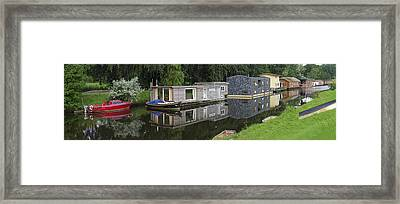 Houseboats In Canal Framed Print