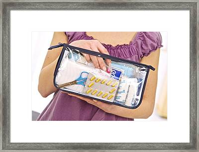 Household Medical Bag Framed Print by Science Photo Library