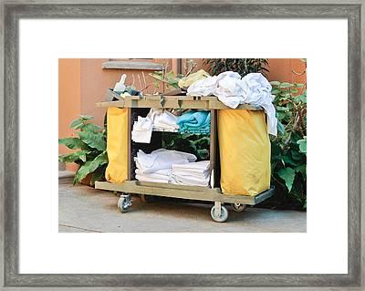 Housekeeping Trolley Framed Print by Tom Gowanlock