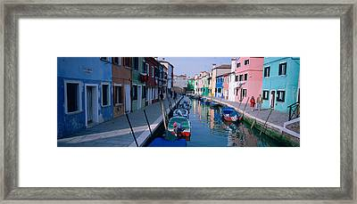 Houses Along A Canal, Burano, Italy Framed Print by Panoramic Images