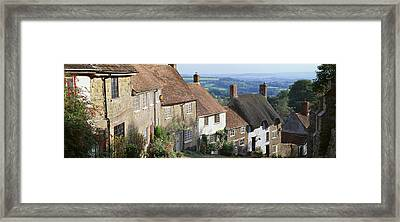 Houses Along Gold Hill, Shaftesbury Framed Print by Panoramic Images