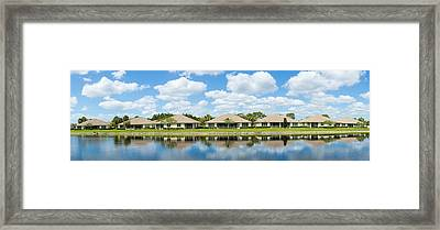 Houses Around Small Lake In North Port Framed Print by Panoramic Images