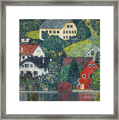 Houses At Unterach On The Attersee Framed Print by Gustav Klimt