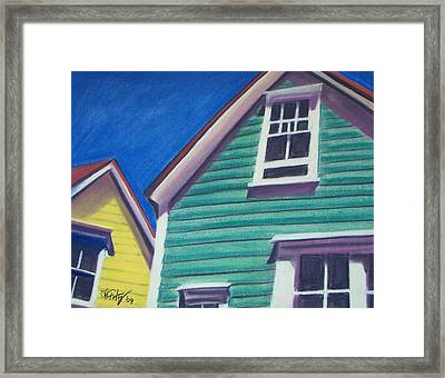Houses Green And Yellow Framed Print