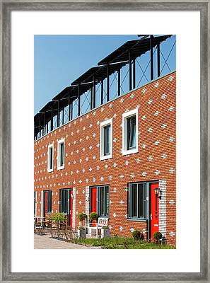 Houses In Almere With Solar Pv Panels Framed Print