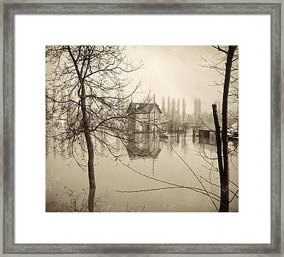 Houses In Flooded Suburb Of Paris Seen Through Bare Trees Framed Print by Artokoloro