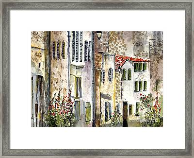 Houses In La Rochelle France Framed Print
