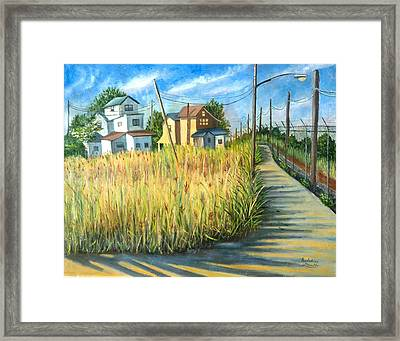 Houses In The Weeds Framed Print