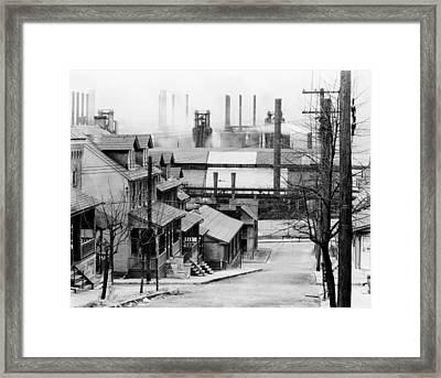 Houses Near Bethlehem Steel Company 1940s Framed Print by Mountain Dreams