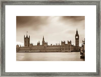 Houses Of Parliament And Elizabeth Tower In London Framed Print by Semmick Photo