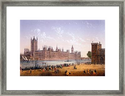 Houses Of Parliament From The South Framed Print by Achille-Louis Martinet