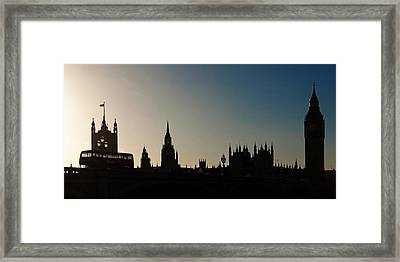 Houses Of Parliament Skyline In Silhouette Framed Print by Susan Schmitz