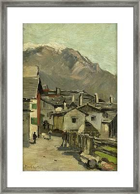 Houses On A Road, Behind A High Mountain Innsbruck Framed Print