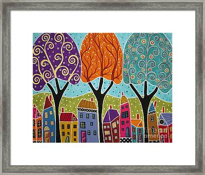 Houses Trees Folk Art Abstract  Framed Print by Karla Gerard