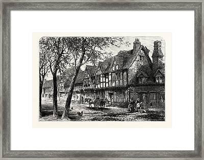 Houses Under The Castle, Warwick, Uk, Britain Framed Print