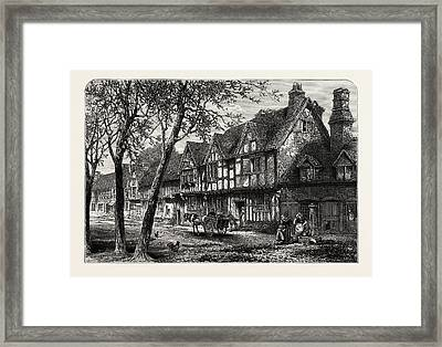 Houses, Under, The Castle, Warwick, Uk, Great Britain Framed Print