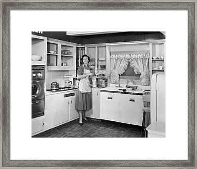 Housewife Making Sandwiches Framed Print
