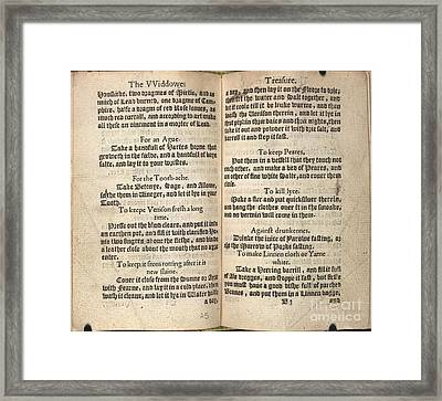 Housewife's Handbook, 16th Century Framed Print by British Library
